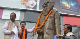 BJP cleaned indramani badoni statue