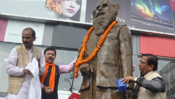 BJP cleaned indramani badoni statue